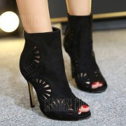 GearBest Stiletto Heel Hollow Out Peep Toe Boots