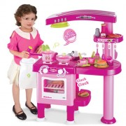 Childrens, Kids Large Toy Kitchen, Pretend Play with over 30 accessories (Pink)