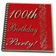 3dRose db_31003_2 100Th Birthday Party Red Design Memory Book 12 by 12-Inch