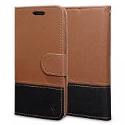 Ceego Wallet Flip Cover with Credit Card Slots for EcoGo Series Lava A76+ Flip Case (Brown & Black Fusion)