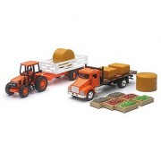 NewRay Kubota Farm Playset with M5 Tractor Truck Trailer Bales and Crates 1/43 Scale Model Vehicles