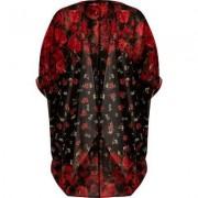 River Island Womens Red floral print longline cardigan
