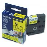 Bandă laminată Brother TZ621, 8m/9mm negru/galben