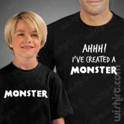 T-shirts Created a Monster Criança