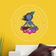 Walltola Krishna With Mantras Wall Decal (20X28 Inch)
