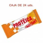 Caja 24 barritas Proteicas Nutrisport sabor naranja y chocolate 46 gr.