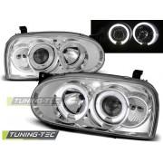 Přední světla, lampy Angel Eyes VW Golf III 91-97 chromová H1