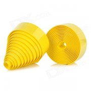 Anti-Slip Bike Bicycle Handlebar Tape Belt Wrap w/ Bar Plugs for Fixed Gear - Yellow (2 PCS)