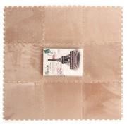 VIAHART FuzzMat Furry Foam Carpet Rug Mats | Set of 9 Tiles | Each tile is 1 sqft 12 in x 12 in x .5 in | Cream