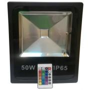 Led reflektor, slim, 50W, 800-4000 Lumen, 120°, RGB + infra távirányító, , IP65, vízálló, fekete ház. Life Light Led
