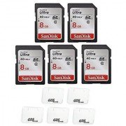 5x Genuine SanDisk Ultra 8GB Class 10 SDHC Flash Memory Card Up To 40MB/s- 266x SDSDUN-008G-G46 (Newest Version) with slim memory card case (5pcs)