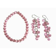 Pink Cats Eye Stone Bead Beaded Dangle Hook Earrings Stretch Bracelets