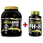 BioTech USA Mega Amino 3200 - 300 tab. + Creatine pH-X - 90 kaps.