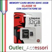 Memory Card Micro sdhc sd 32GB CLASSE 10 KINGSTON Originale in confezione Blister sigillata