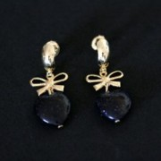 Semi Earring Jewelry Gold Plated Heart Stone Onix