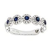 Naava Eternity Ring, 9 ct White Gold Diamond and Sapphire Ring, Pave Set