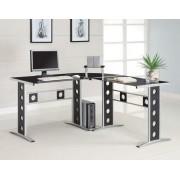 Silver finish metal frame with black tempered glass top corner computer desk