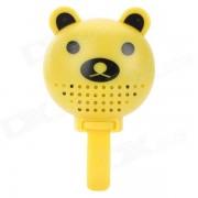 DX-888B Cute Bear Style Plastic Bike Bell w/ Rearview Mirror - Yellow