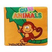 Malloom® blando libro de tela, Bebé Desarrollo de Inteligencia Aprender y leer (animals monkeys)