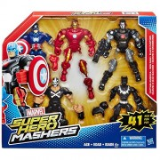 Unknown Marvel Super Hero Mashers 5-pack, Set Includes Captain America, Black Panther, Iron Man, Marvelâ€s War Machine, and Marvelâ€s Crossbones Figures, Recommended for Kids 4 Years and Up
