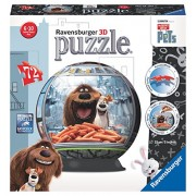 Ravensburger Italy 12192 - The Secret Life Of Pets Puzzle 3D Ball, 72 Pezzi