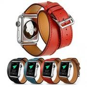 Surwin Apple Watch Armband 38 mm, Echt Leder Ersatzband iWatch Armband aus Leder Elegant Luxuriös mit Metallverschluss - Rot