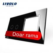 Panou intrerupator dublu cu touch + priza simpla Livolo din sticla, negru