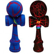 2-PACK - KENDAMA TOY CO. - The Best Pocket Kendama For All Kinds Of Fun (not full size) - Awesome Colors: Black/Red and Blue/Red Kendama Set - Solid Wood - Create Better Hand And Eye Coordination