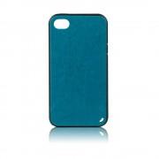 Силиконов калъф с кожен гръб Fashion Style за IPhone 4s син