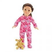 18 Inch Doll Pink Footed Heart Pajamas with Teddy Bear | Clothes Fit American Girl Dolls | Onesie St