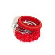 Zestaw bransoletek 160301U (czerwono-srebrny)