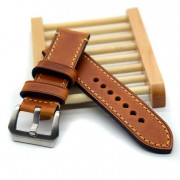 Hand made high Quality Fine Leather Watch Strap &Band Silver Buckle 20mm 22mm 24mm 26mm with stainless steel buckle