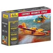 Heller 53009 - Set di modellini di elicottero e aereo per spegnere gli incendi, da costruire, Canadair CL-415 (108 pz.) ed Eurocopter EC 145 (96 pz.), scala 1:72
