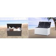 Rattan Gartenmöbel Kissenbox 160 cm Rattanbox weiss oder braun Auflagentruhe ...