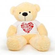Peach 5 Feet Big Teddy Bear Wearing A I Love You T-Shirt