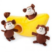 ZippyPaws Burrow Squeaky Hide and Seek Plush Dog Toy, Monkey 'n Banana by ZippyPaws