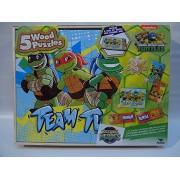 Teenage Mutant Ninja Turtles 5 Wood Puzzles with Storage Box