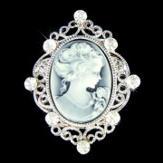 Victorian Antique Style Swarovski Crystal Black Cameo Pin Brooch