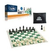 WE Games Tournament Chess Set- Heavy Weighted Chess Pieces with Green Roll-up Chess Board and Zipper Pouch for Chessmen by WE Games