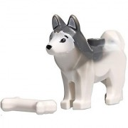 LEGO Animal Minifigure Husky Arctic Sled Dog with Bone (Aprox. 1 inch Size)