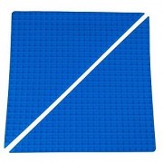 Premium 15.5 x 15.5 Double Sided Right Isosceles Triangle Baseplate Mat 2 Pack - Blue Roll Up Base Plate with Large and Small Pegs - (Compatible with LEGO and DUPLO)