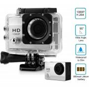cámara Deportes Q2 2 pulg 12MP 1080P Impermeable Sports Camera US plug Plateado