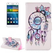 For Huawei Ascend G7 Believe Windbell Pattern Horizontal Flip Leather Case with Holder & Card Slots & Wallet