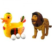 combo of Funny Duck Lays Eggs with Lion Light Sound Battery Operated Toy For Kids