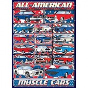 Muscle Cars Jigsaw Puzzle - 1000 Piece - Limited Edition (see Collectors Note) - Classic All-American Car Puzzle Set with Patriotic Design - Made in USA by Hennessy Puzzles