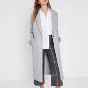 River Island Grey tie cuff coat