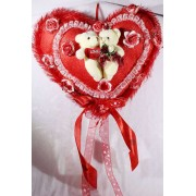 Beautiful Red Plush Frill Heart with Love Couple Teddy Bears