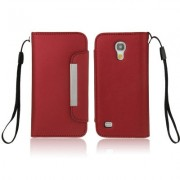 So Fit Series Leather Case with Credit Card Slots & Lanyard for Samsung Galaxy S IV mini / i9190 (Red)