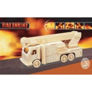 Puzzled Fire Engine 3d Natural Wood Puzzle by Puzzled