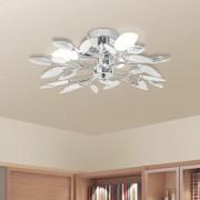 vidaXL Лампа за таван бели и прозрачни листа от акрилен кристал, 3 крушки Е14